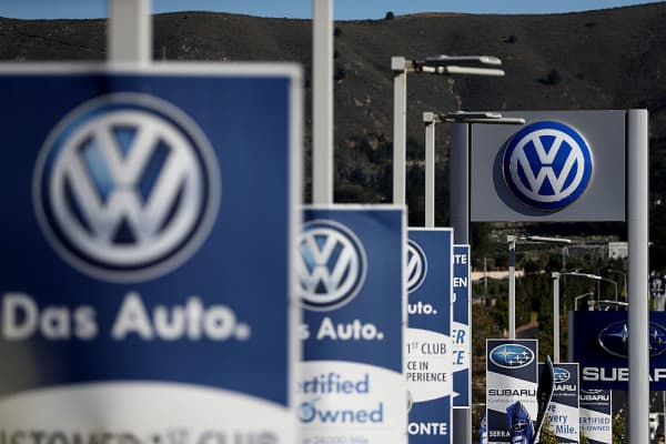 The Volkswagen logo is displayed at Serramonte Volkswagen on November 18, 2016 in Colma, California.