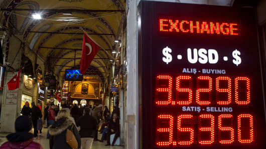 People walk past a currency exchange shop on December 5, 2016 in Istanbul, Turkey.