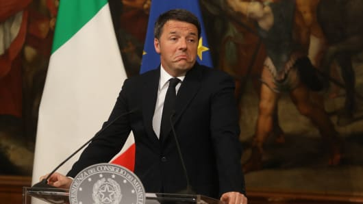 Matteo Renzi, Italy's prime minister, pauses at a news conference following the constitutional reform referendum results in Rome, Italy, on Monday, Dec. 5, 2016.
