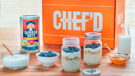 "Quaker Oats to partner with Chef'd to launch a breakfast meal-kit service featuring ""Overnight Oats."""