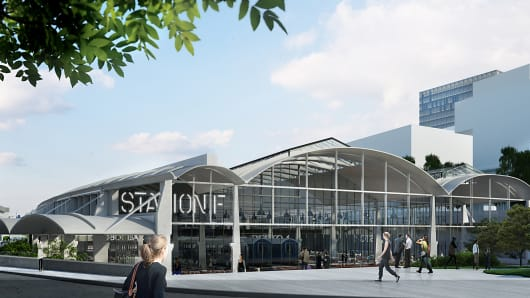 A computerized rendering of what the Station F campus will look like when it opens to the public in April 2017.