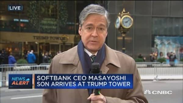 SoftBank CEO Masayoshi Son arrives at Trump Tower