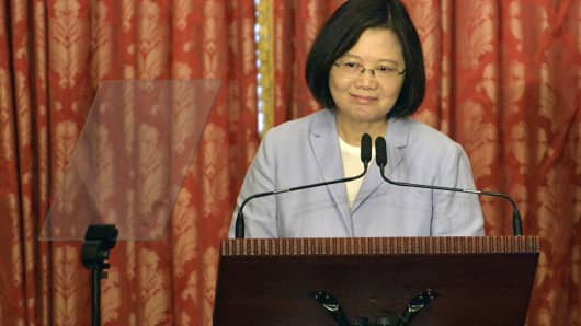 Taiwan President, Tsai Ing-wen speaks during a press conference at the Taipei Guest House on August 20, 2016.