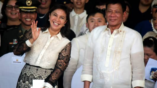 Vice President Leni Robredo (left) with President Rodrigo Duterte (right) on July 1, 2016 in Quezon City.