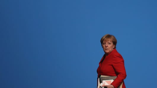 German Chancellor and Chairwoman of the German Christian Democrats (CDU) Angela Merkel at the party's federal congress in Essen, Germany.