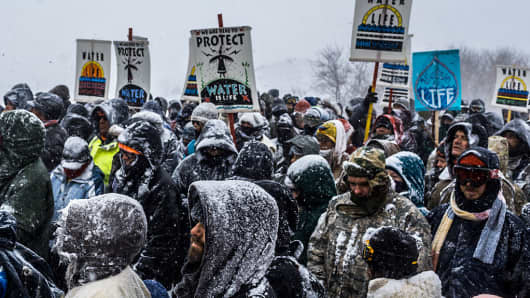 Winter has arrived in Standing Rock at the Oceti Sakowin Camp in North Dakota, the day after the Army Corps of Engineers denied the easement needed to build the pipeline.