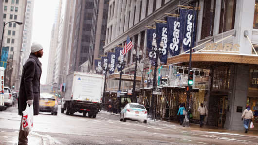 Banners hang from Sears' flagship store in the Loop in Chicago, Illinois.