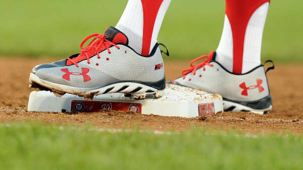 Bryce Harper #34 of the Washington Nationals wears Under Armour shoes during the game against the Miami Marlins at Nationals Park on October 2, 2016 in Washington, DC.