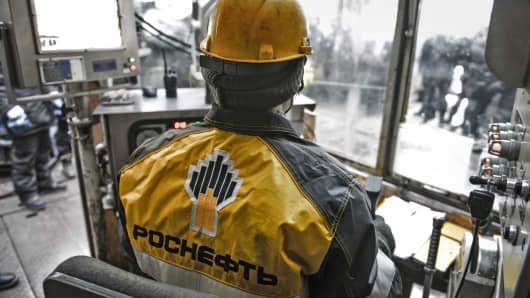 Worker at Vankor Field, operated by Russian national oil company Rosneft, in Igarka, Russia.