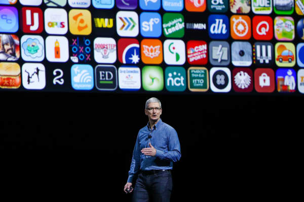 Apple CEO Tim Cook delivers the keynote address at Apple's annual Worldwide Developers Conference at the Bill Graham Civic Auditorium in San Francisco, California, onJune 13, 2016.