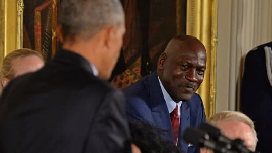 NBA Hall of Famer Michael Jordan looks on during a ceremony for the Presidential Medal of Freedom at the White House on November 22, 2016 in Washington D.C.