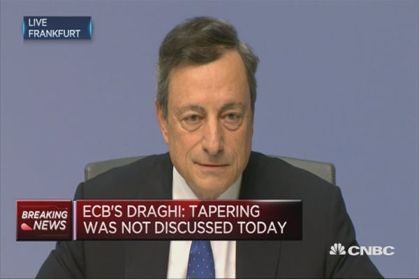 Tapering was not discussed today: ECB's Draghi