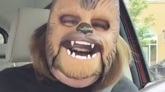 "An image of ""Chewbacca Mom"" from facebook video."