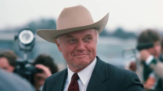 American politician and former astronaut Senator John Glenn as he smiles at Birmingham Municipal Airport, Birmingham, Alabama, March 14, 1984