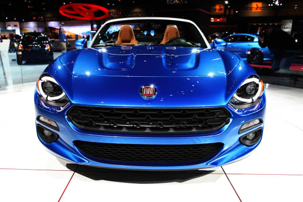 2017 Fiat Spider 124 is on display at the 108th Annual Chicago Auto Show at McCormick Place in Chicago, Illinois on February 11, 2016.