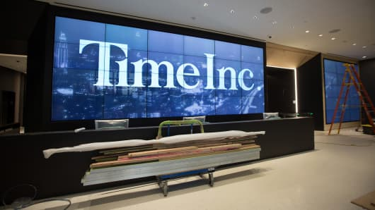Time Inc. signage is displayed in the lobby of the company's new headquarters in New York.