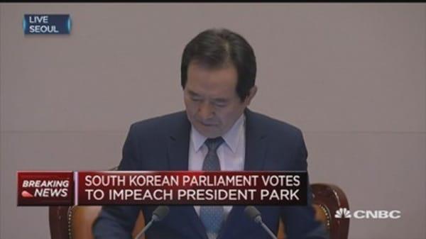 South Korean parliament votes to impeach President Park