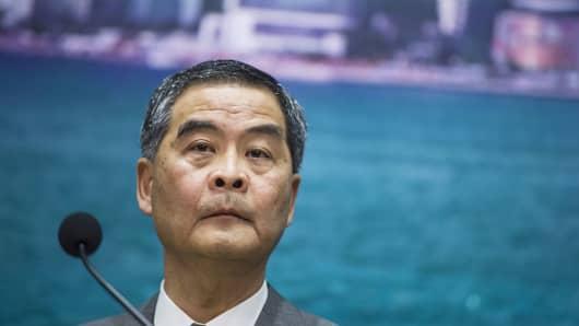 Leung Chun-ying, Hong Kong's chief executive, listens during a news conference in Hong Kong, China, on Monday, Nov. 7, 2016.