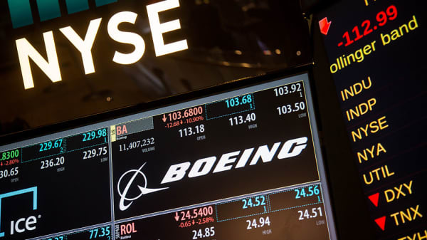 A monitor displays financial news about Boeing Co. at the New York Stock Exchange (NYSE) in New York, U.S., on Thursday, Feb. 11, 2016.