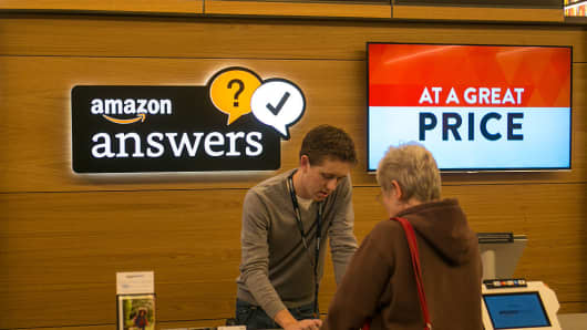 Amazon.com opened its first 'brick and mortar' retail bookstore as viewed on November 5, 2015, in Seattle, Washington.