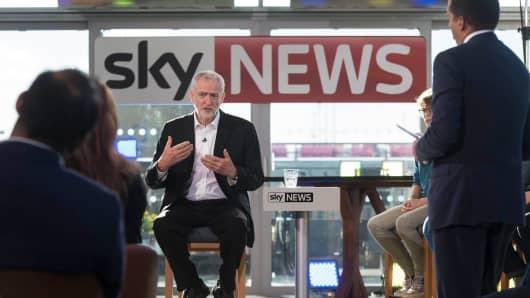 Labor leader Jeremy Corbyn speaks during a live TV debate on June 20, 2016 in London, England.