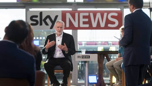 Labor leader Jeremy Corbyn speaks during a live TV debate on June 20, 2016 in London, England.