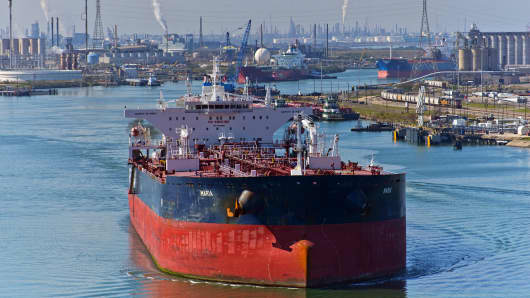 The tanker Maria sails out of the Port of Corpus Christi after discharging crude oil at the Citgo refinery in Corpus Christi, Texas.