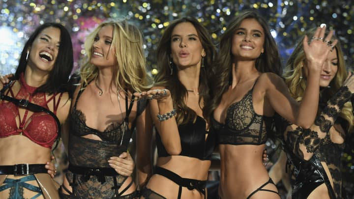 Models walk the runway at the Victoria's Secret Fashion Show on November 30, 2016, in Paris.