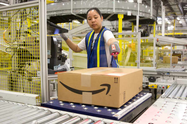 A worker at an Amazon shipping center in Schertz, Texas.