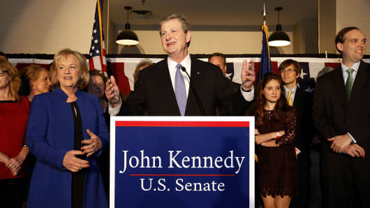 U.S. Senate Republican candidate John Kennedy delivers a victory speech during an election party on December 10, 2016 in Baton Rouge, Louisiana.