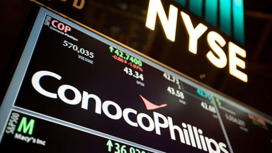 ConocoPhillips Co. signage is displayed on the floor of the New York Stock Exchange (NYSE) in New York, U.S., on Friday, Nov. 4, 2016.
