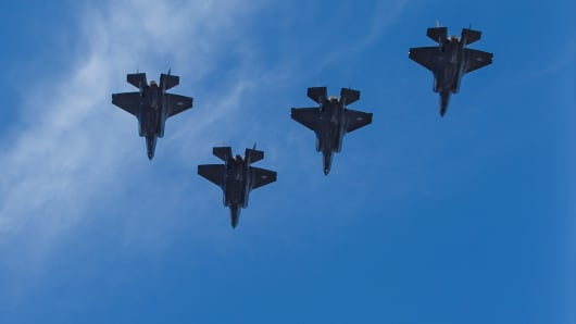 F35 fighter planes flyover prior to the Lockheed Martin Armed Forces Bowl between the California Golden Bears and the Air Force Falcons at Amon G. Carter Stadium in Fort Worth, TX.