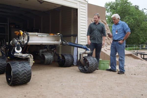 Jay Leno test drives a stripped down version of the Mars rover.
