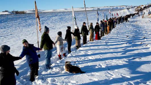 Protest against the Dakota Access pipeline in Cannon Ball, North Dakota