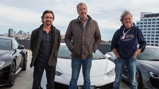 "Richard Hammond, James May, and Jeremy Clarkson, the former presenters of hit British motoring show ""Top Gear,"" now star in Amazon's mega-hit ""The Grand Tour."""