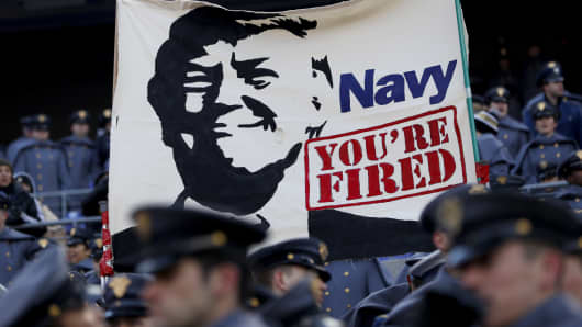 Cadets from the U.S. Military Academy fly a banner depicting President Elect Donald Trump prior to the game between the Navy Midshipmen and the Army Black Nights at M&T Bank Stadium on December 10, 2016 in Baltimore, Maryland.