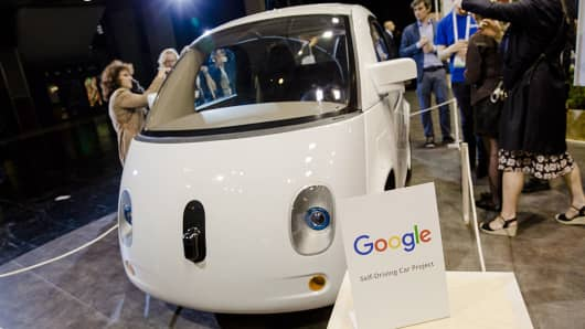 Google's self-driving car, seen at a conference in Paris on June 30, 2016