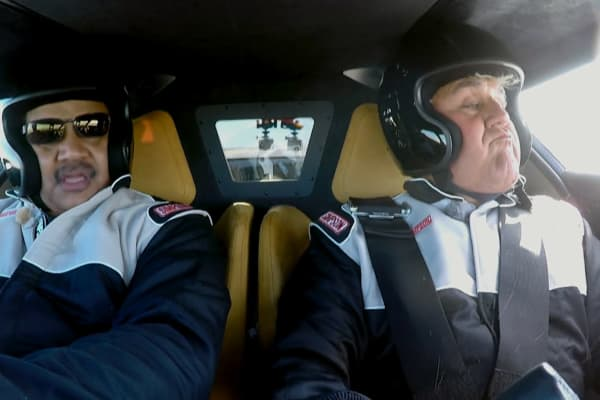 Neil deGrasse Tyson and Jay Leno show varying degrees of concern as they lose a window at 130 mph.