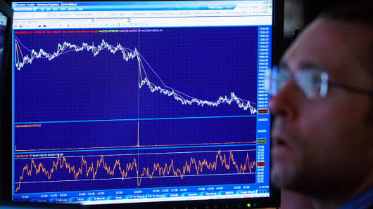 A trader looks on in front of a chart showing the downward trend of the Dow Jones Industrial Average at the New York Stock Exchange at the end of the trading day March 2, 2009 in New York City.