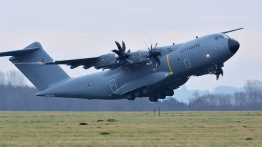 An Airbus A400M military aircraft with army personnel onboard takes off from the German army Bundeswehr airbase in Jagel, northern Germany.