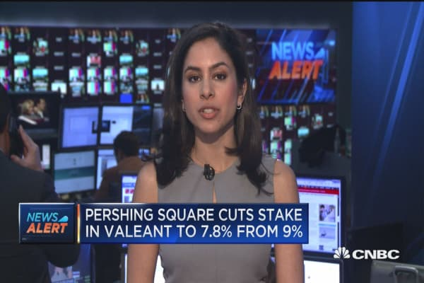 Pershing Square cuts stake in Valeant to 7.8% from 9%