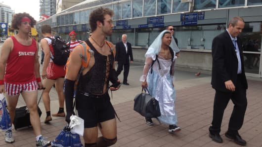 Toronto Blue Jays rookies wearing embarrassing costumes