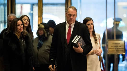U.S. Rep. and President-elect's Donald Trump's choice for Interior Secretary Ryan Zinke arrives at Trump Tower, December 12, 2016 in New York City.