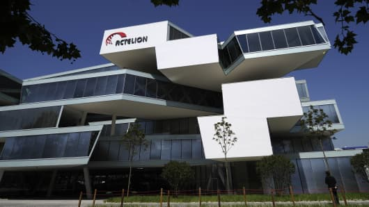A picture shows the headquarters of the Swiss biotechnology group Actelion in Allschwil near Basel.
