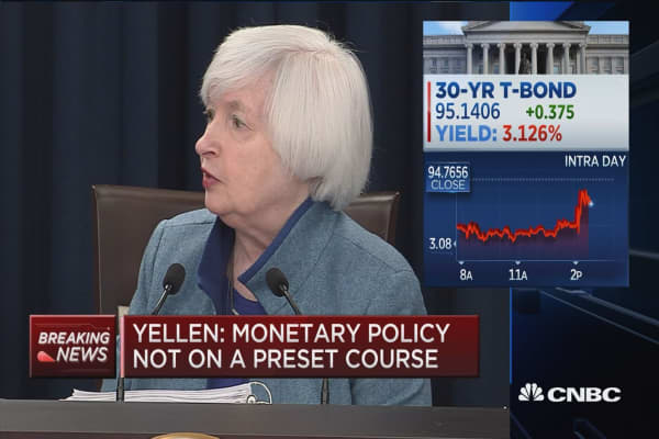 Yellen: 3 project hikes 'a modest adjustment' of rate path