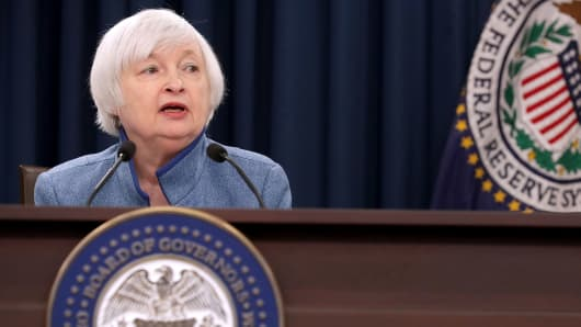 Federal Reserve Board Chair Janet Yellen holds a news conference after the central bank announced an increase in the benchmark interest rate following a Federal Open Market Committee meeting December 14, 2016 in Washington, DC.