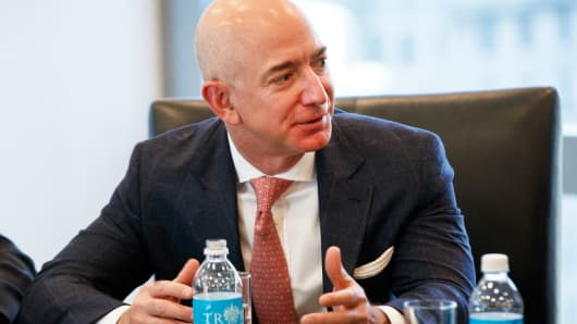 Amazon founder Jeff Bezos speaks during a meeting with President-elect Donald Trump and technology industry leaders at Trump Tower in New York, Wednesday, Dec. 14, 2016.