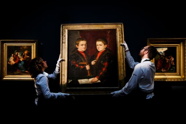 'Portrait of Two Boys' by Titian and studio, one of the first few double portraits in Renaissance painting, circa 1540, featured in an exhibition of Sotheby's Old Masters Sale at Sotheby's on December 2, 2016 in London.