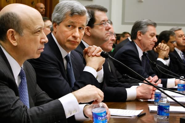 Executives from the financial institutions who received TARP funds, (L-R) Goldman Sachs Chairman and CEO Lloyd Blankfein, JPMorgan Chase & Co CEO and Chairman Jamie Dimon, The Bank of New York Mellon CEO Robert P. Kelly, Bank of America CEO Ken Lewis, State Street Corporation CEO and Chairman Ronald Logue, Citigroup CEO Vikram Pandit, Wells Fargo President and CEO John Stumpf testify before the House Financial Services Committee February 11, 2009 in Washington, DC.