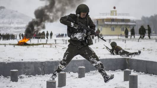 A qualification test to earn the maroon beret of the Russian Federal National Guard Troops Service, at the Gorny training centre, Russia.